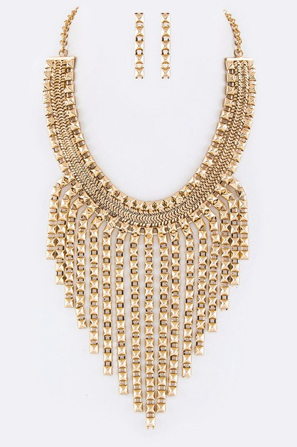 Layered Pyramid Chain Bib Necklace  - orangeshine.com