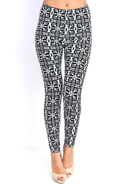 Tribal Print Soft Peached Leggings - orangeshine.com