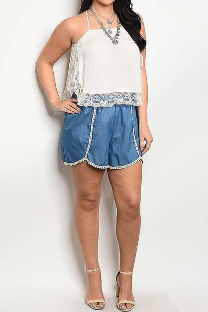 CONTRAST LACE TRIMMED PLUS SHORTS - orangeshine.com