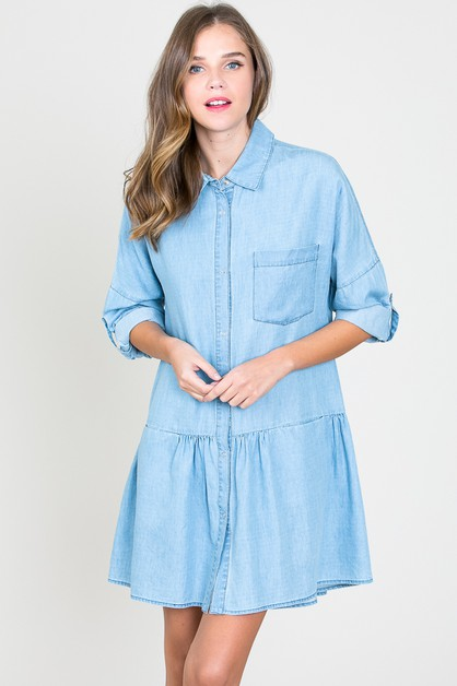 CHAMBRAY DRESS WITH POCKETS - orangeshine.com