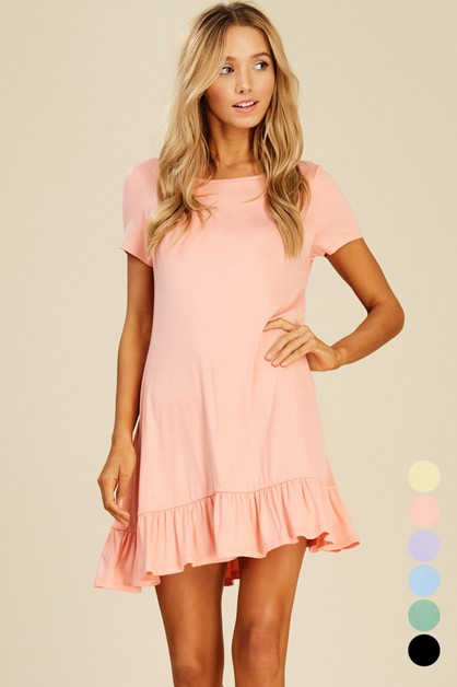 Short Sleeve Ruffle Dress - orangeshine.com