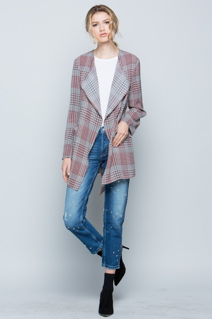 PLAID JACKET WITH ROLL UP SLEEVE  - orangeshine.com