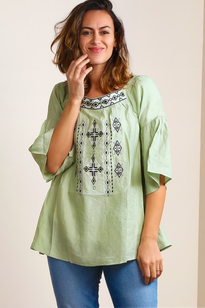 BOHO EMBROIDERED TUNIC - orangeshine.com
