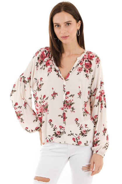 Floral loose fit top - orangeshine.com