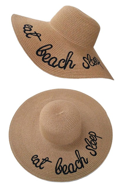 Letter Embroidery Sun Straw Hat - orangeshine.com