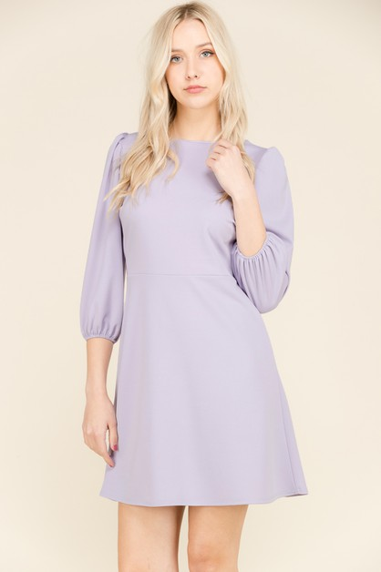 SOLID KNIT PUFF SLEEVE ALINE DRESS - orangeshine.com
