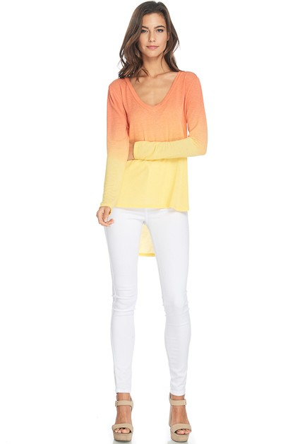 GARMENT DYE V-NECK TOP WITH LONG SLV - orangeshine.com