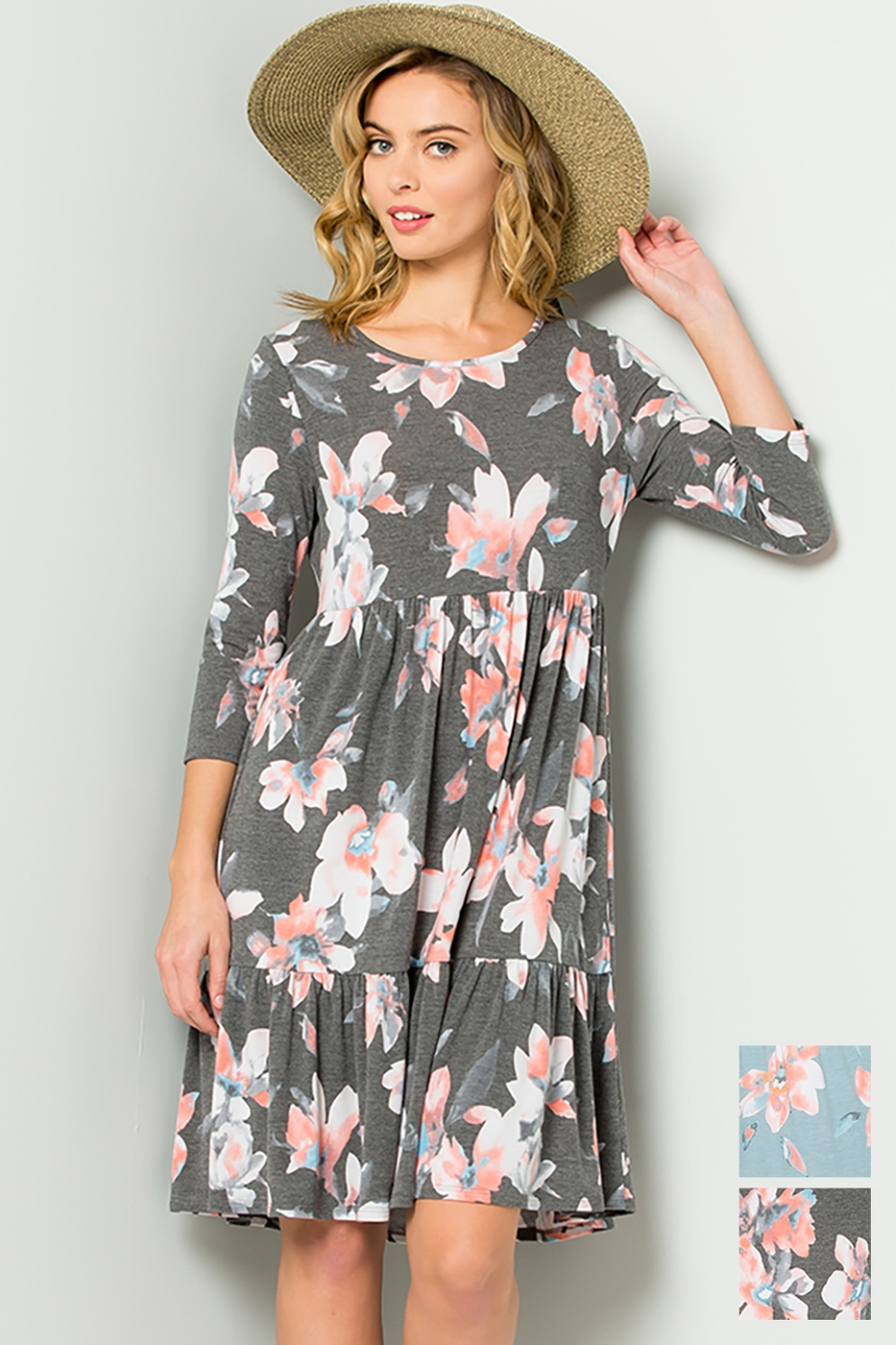 Sweet floral print babydoll dress - orangeshine.com