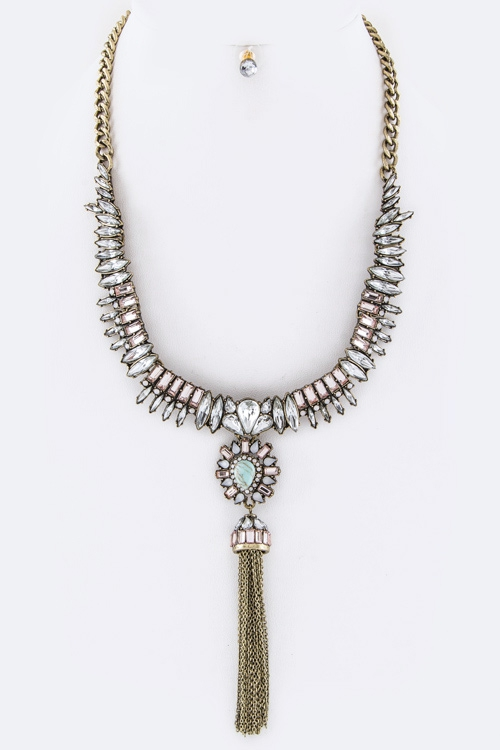 Crystal Marquise Tassel Necklace - orangeshine.com