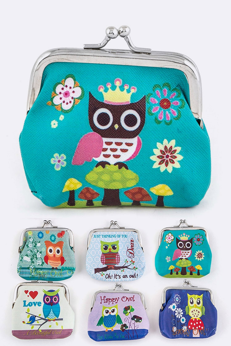 Assorted Comic Owl Print Coin Purses - orangeshine.com