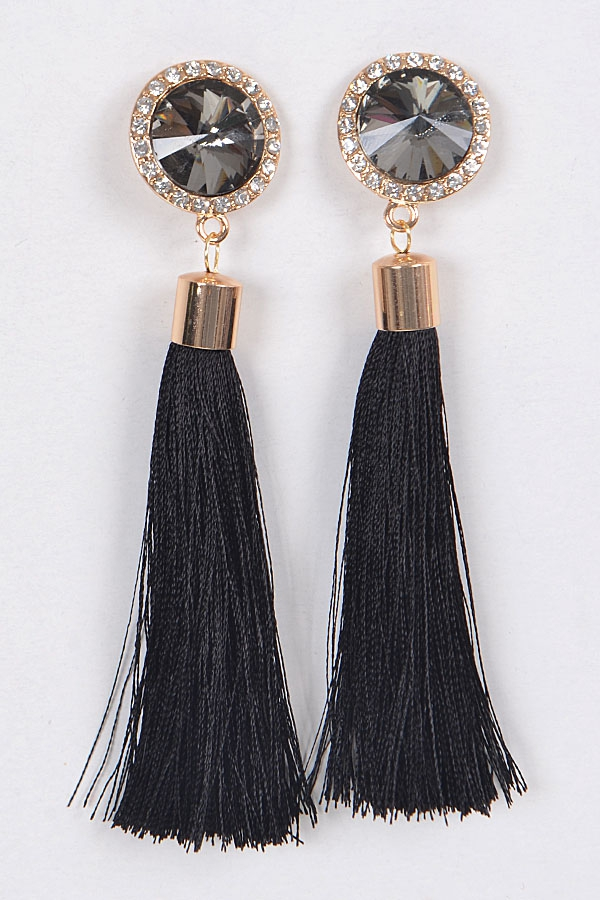 CIRCLE CRYSTAL AND TASSEL EARRINGS - orangeshine.com