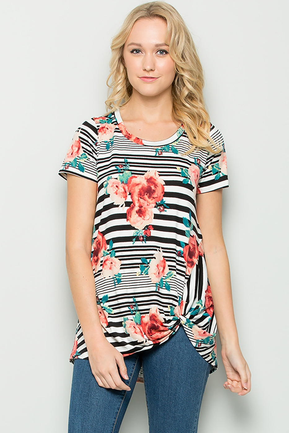 Floral print knotted front tunic - orangeshine.com