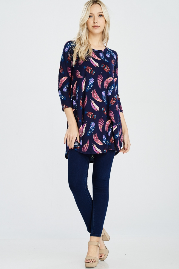FEATHER PRINT LONG SLEEVE TUNIC - orangeshine.com