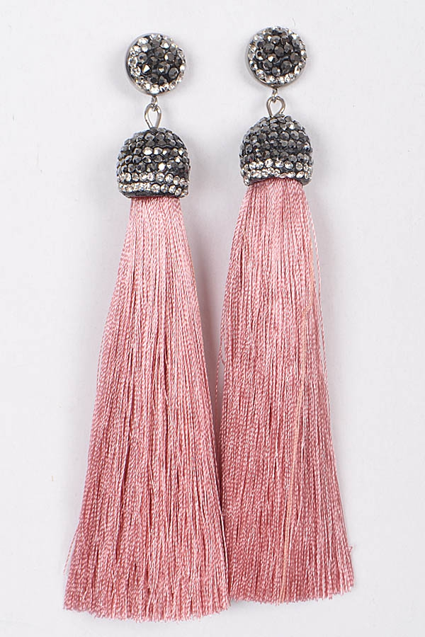 TASSEL AND BRIGHT STONES EARRING - orangeshine.com