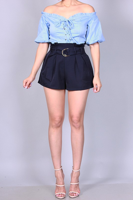 HIGH WAIST PLEATED SHORTS  - orangeshine.com