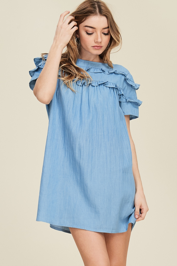 Ruffle Detailed Chambray Mini Dress - orangeshine.com