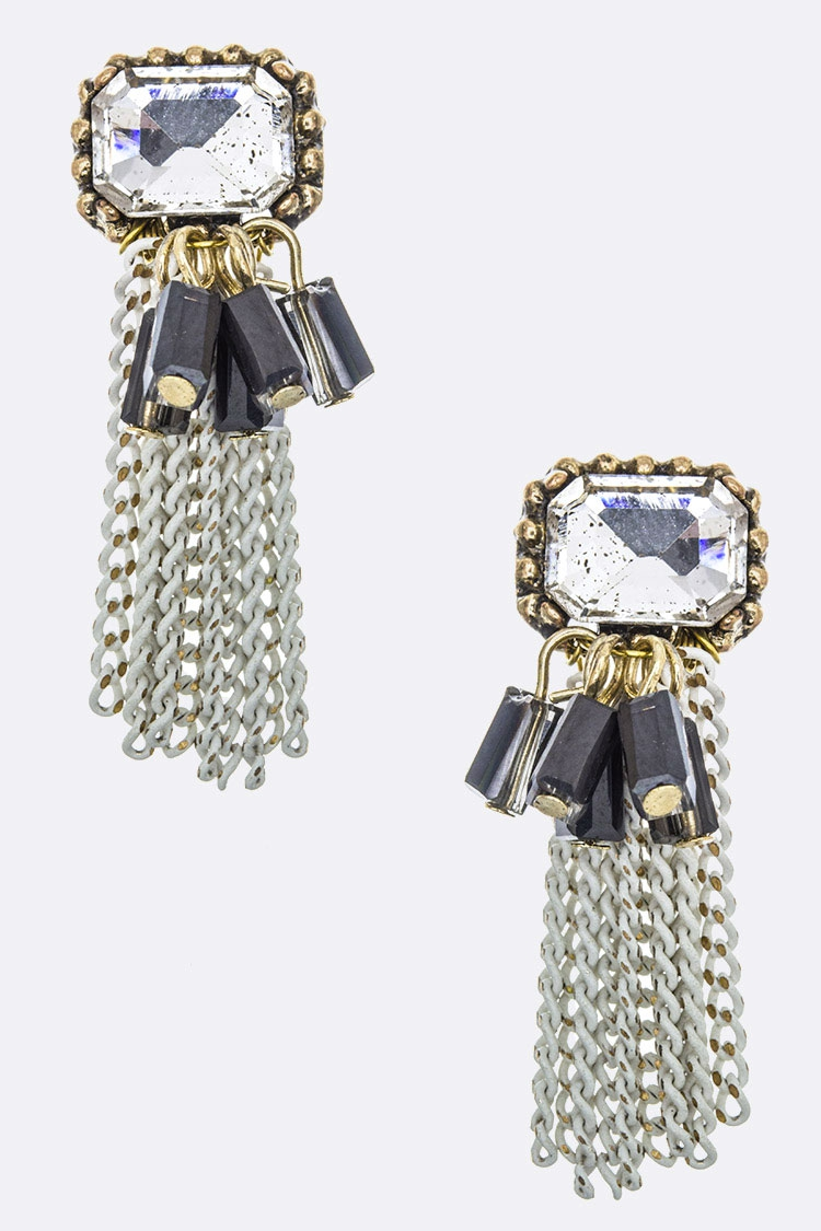 Fringe Bead Chain Crystal Earrings - orangeshine.com