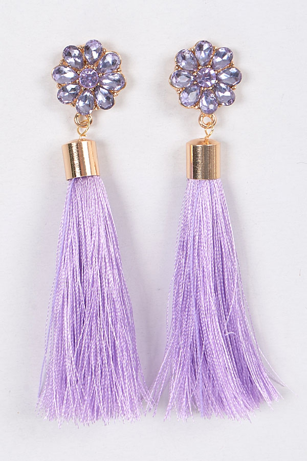 FLOWER CRYSTAL AND TASSEL EARRINGS - orangeshine.com