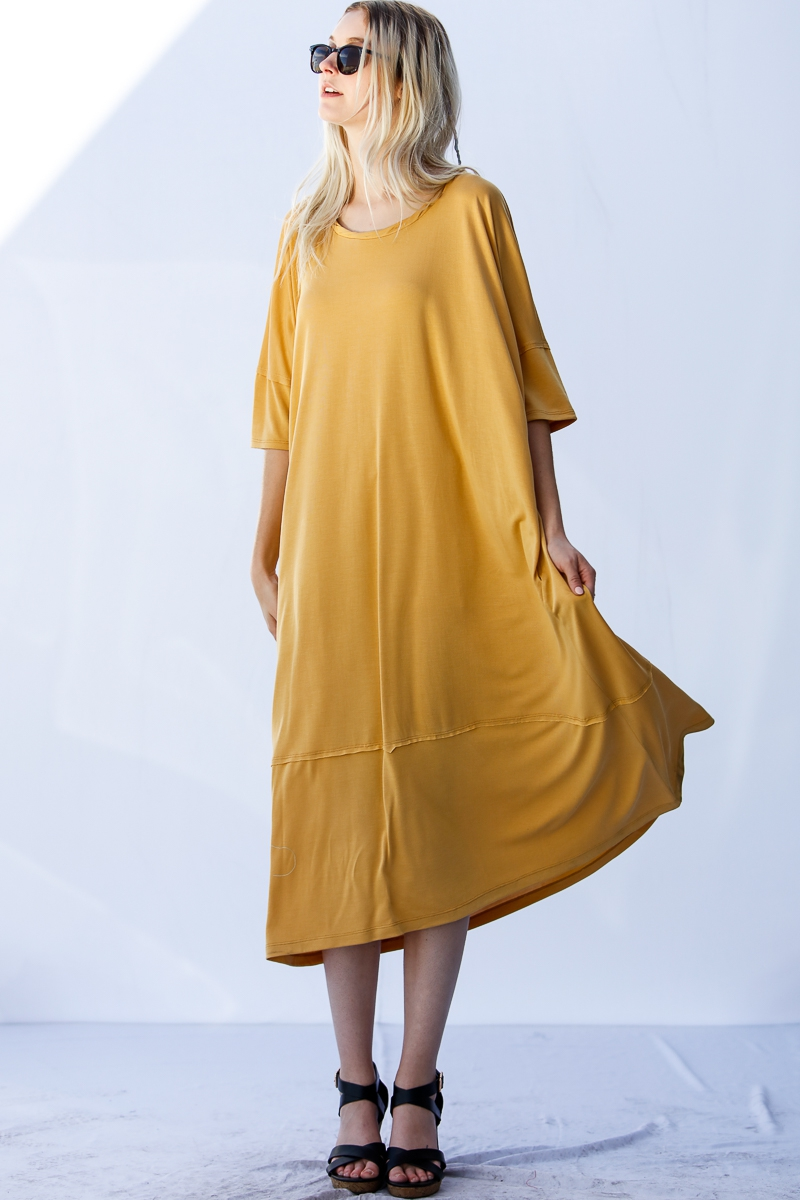 3/4 Sleeves Round Neck Long Dress - orangeshine.com