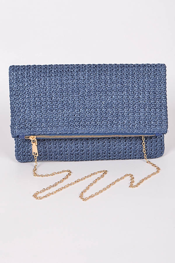STRAW CLUTCH WITH ZIPPER DETAILS - orangeshine.com