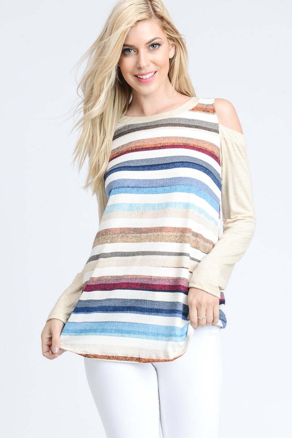 MULTI STRIPE OPEN SHOULDER KNIT TOP - orangeshine.com