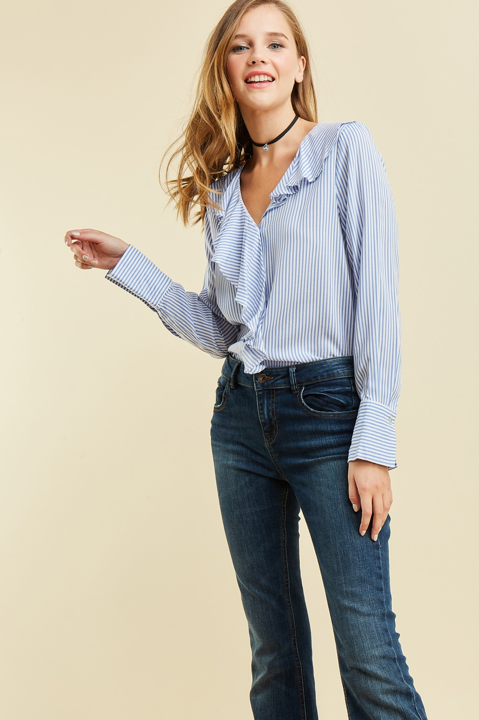 Pinstripe button-up top - orangeshine.com