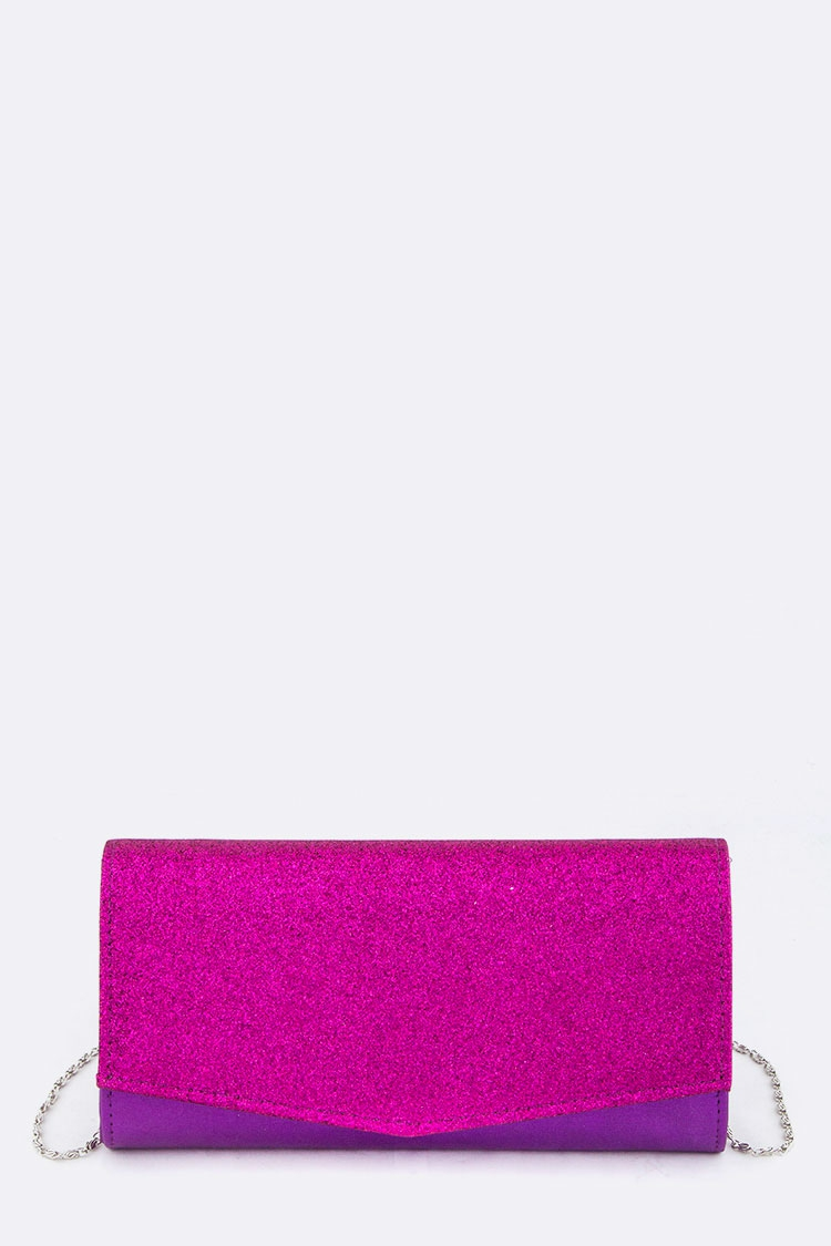 Glittered Flap Evening Clutch - orangeshine.com