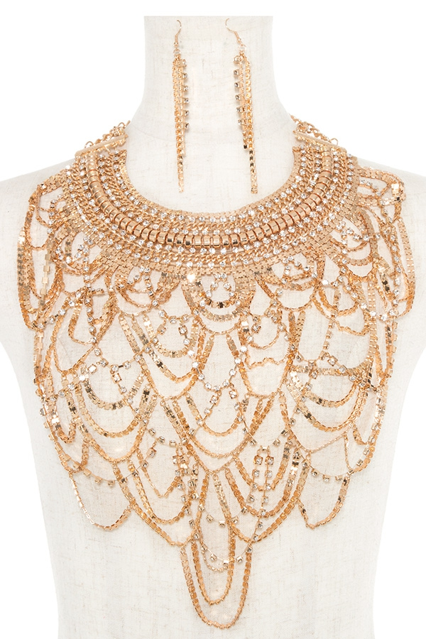 RHINESTONE PAVE DRAPED BIB NECKLACE  - orangeshine.com