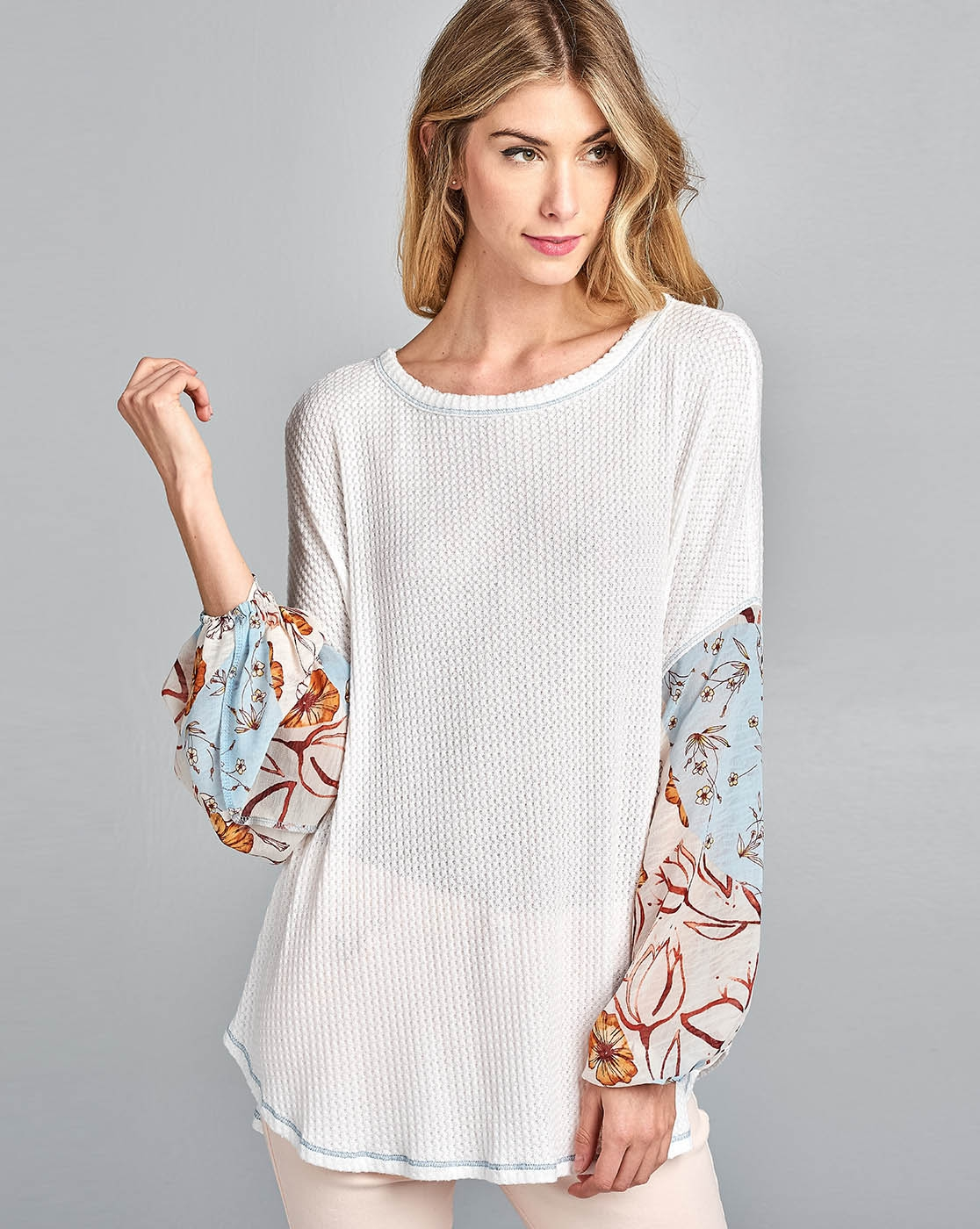 Woven Printed Balloon Sleeve Top - orangeshine.com