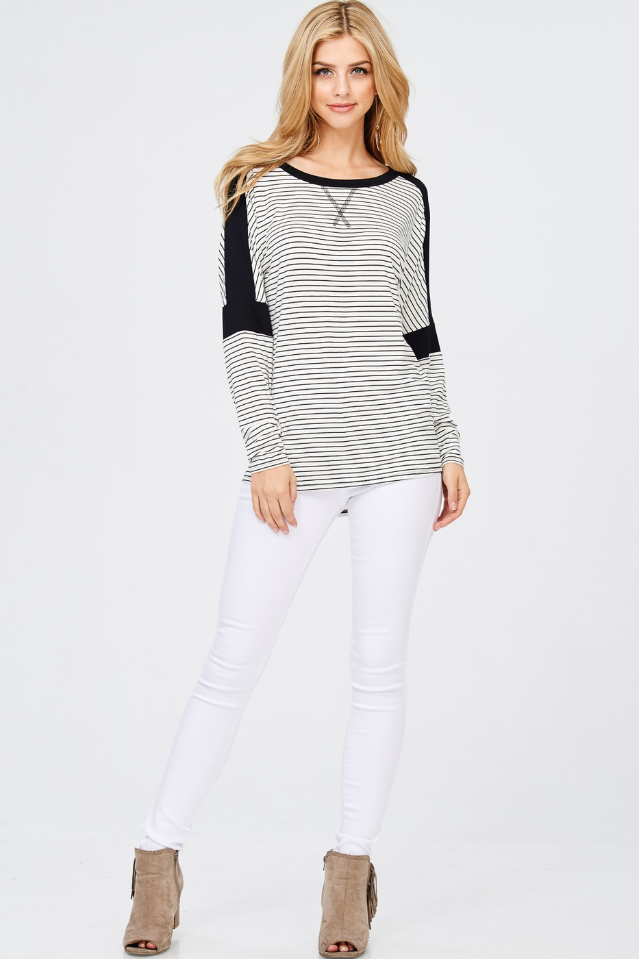 Striped Hi-Low Hemline Top - orangeshine.com