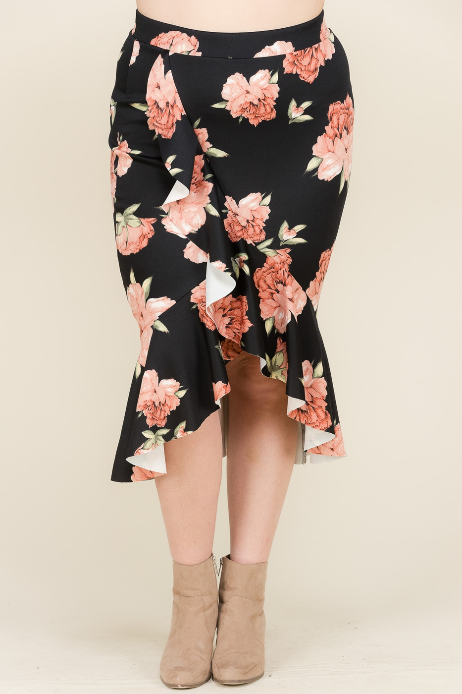 FLORAL RUFFLED HI-LOW SKIRT - orangeshine.com