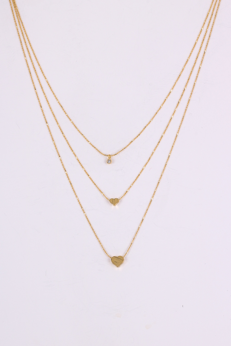 Layered Heart Solitaire Necklace Set - orangeshine.com