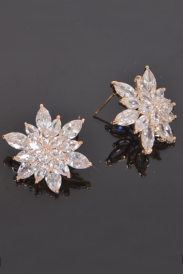 FLORAL CRYSTAL EARRINGS - orangeshine.com