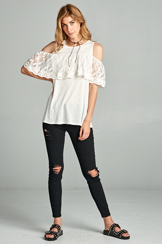 COLD SHOULDER LACE TOP - orangeshine.com