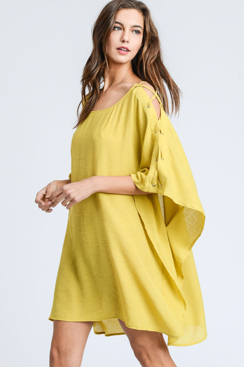 LACE UP SHOULDER COVER UP TUNIC  - orangeshine.com