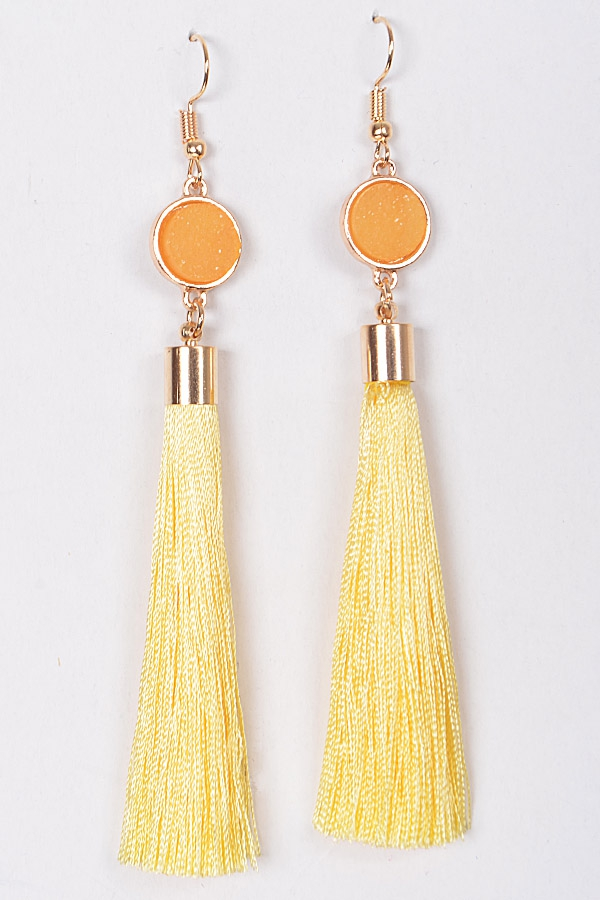 TASSEL AND DAZZLING STONE EARRINGS - orangeshine.com