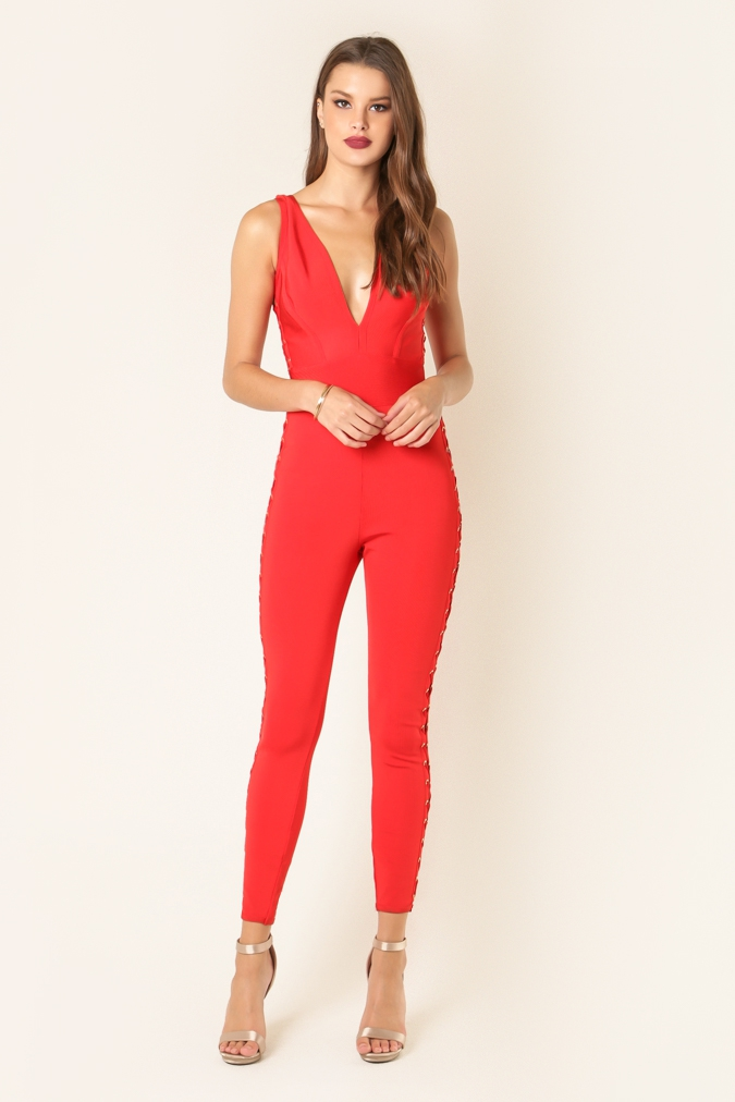 Lace-up Side Bandage Jumpsuit - orangeshine.com