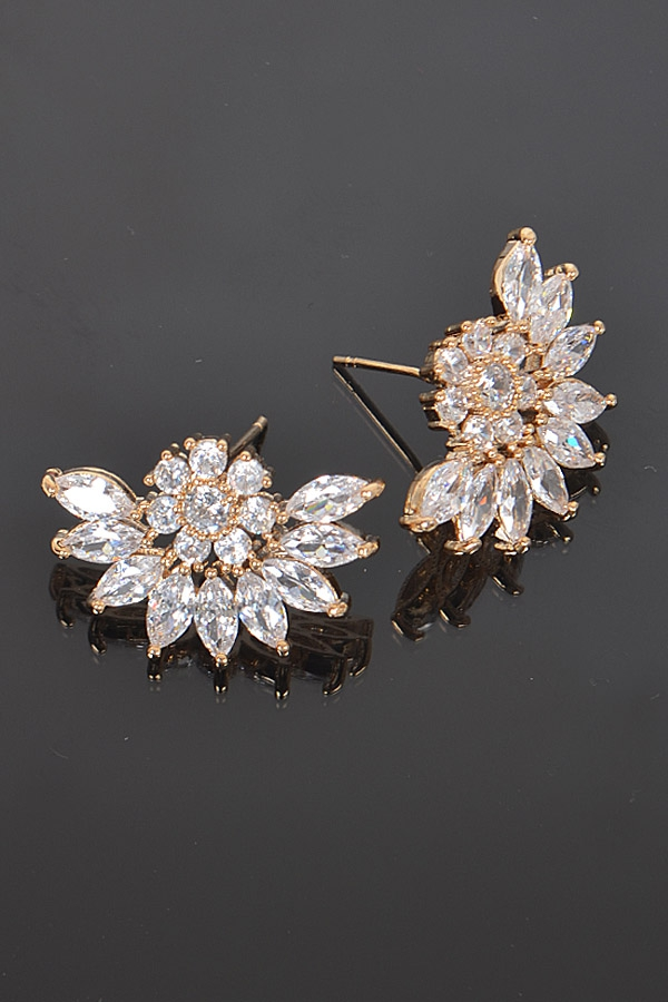 FLOWER CRYSTAL EARRINGS - orangeshine.com