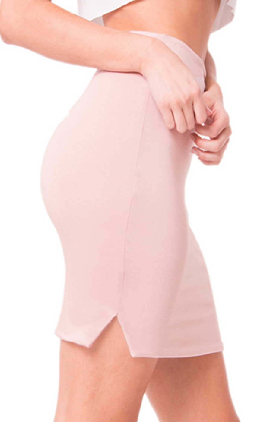 HIGH WAIST SOLID MINI SKIRT - orangeshine.com