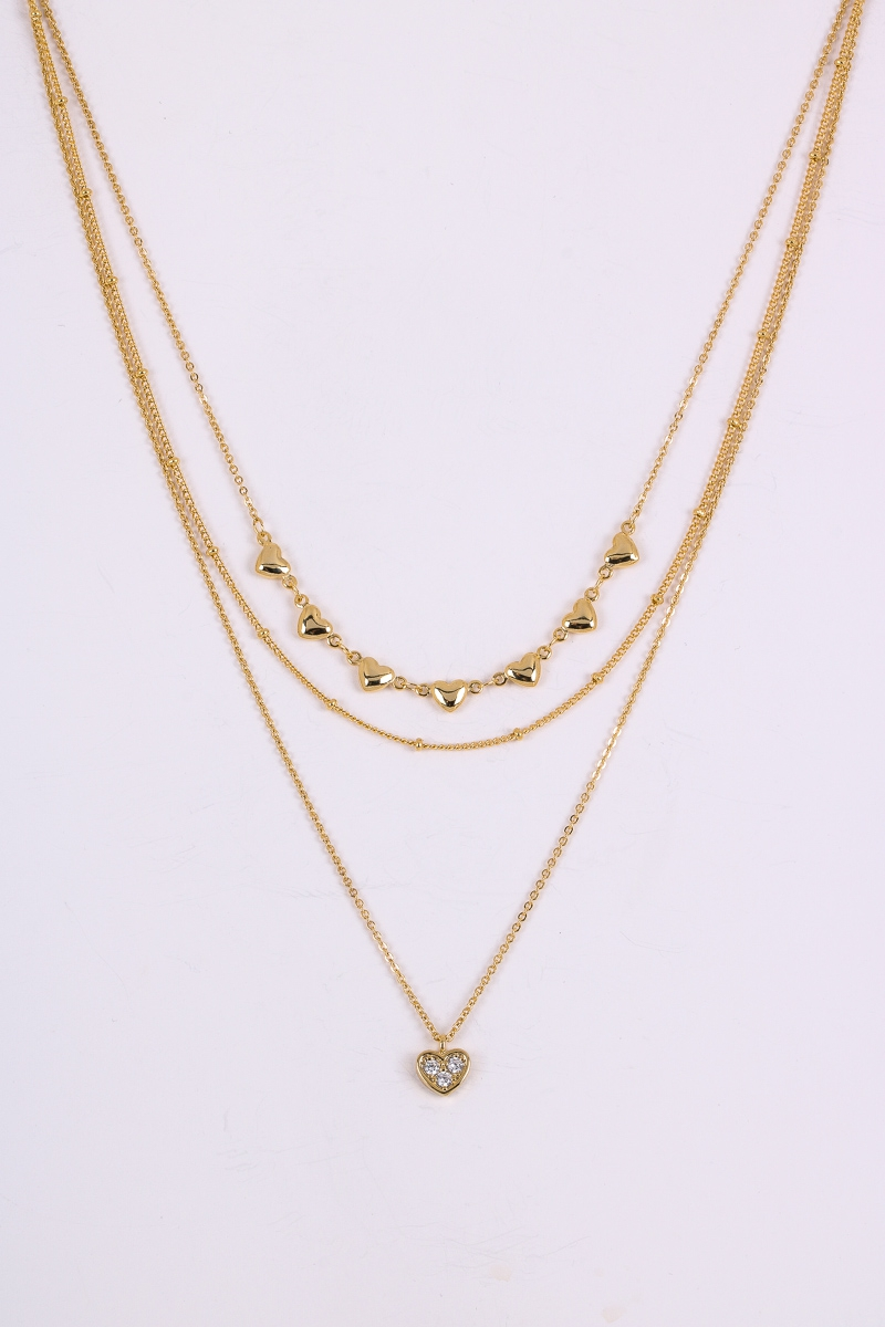 Lovely Dainty Hearts Pave Necklace - orangeshine.com