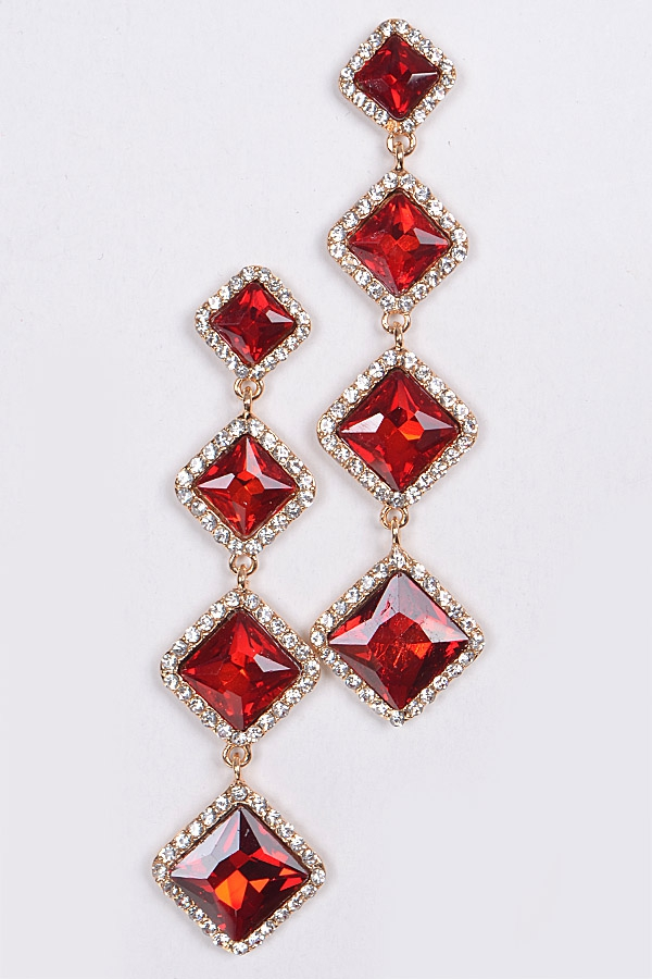 RHOMBUS CRYSTAL EARRINGS - orangeshine.com