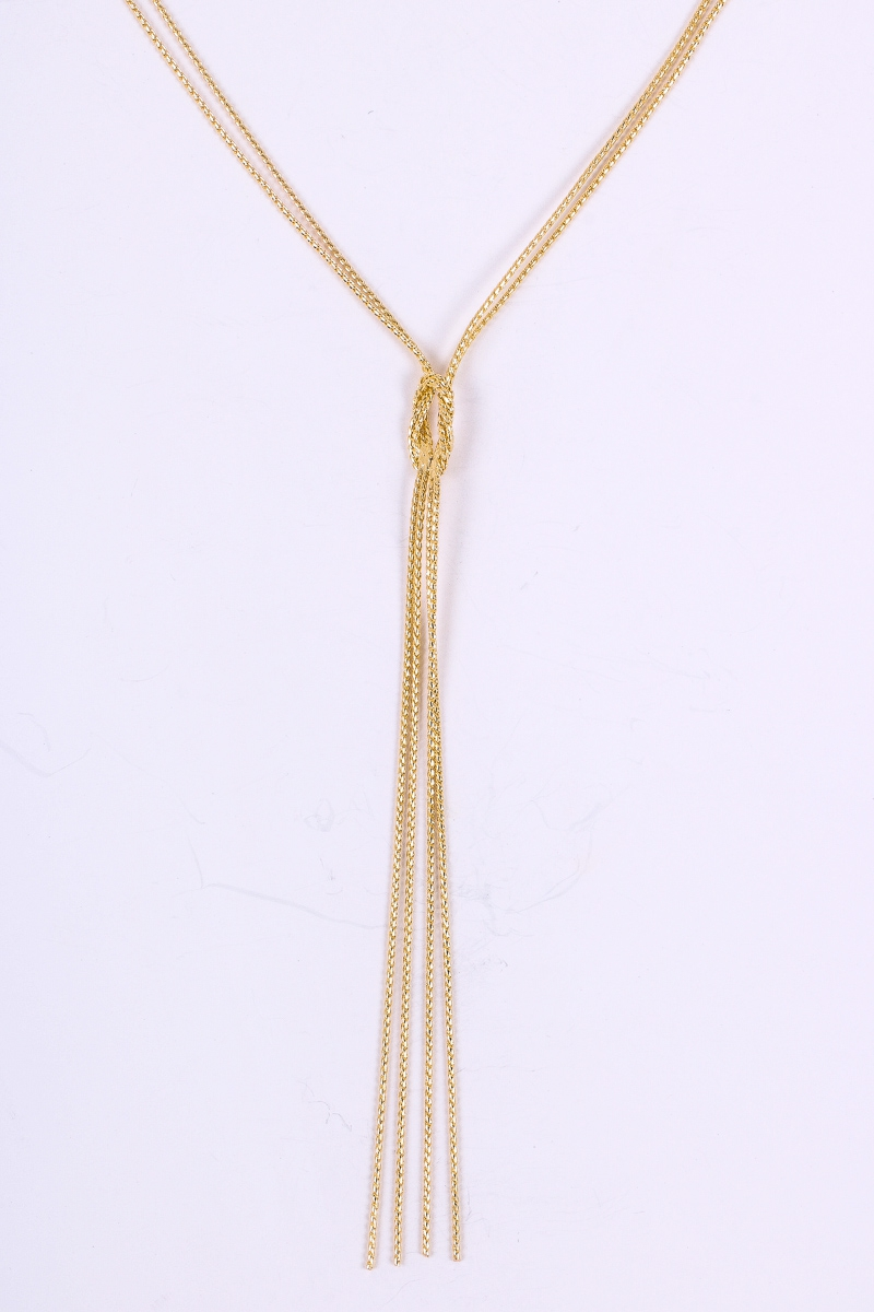 Curb Chain Lariat Square Necklace - orangeshine.com