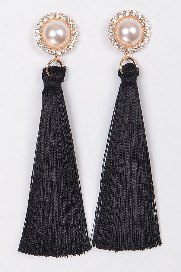 PEARLY TASSEL EARRINGS - orangeshine.com