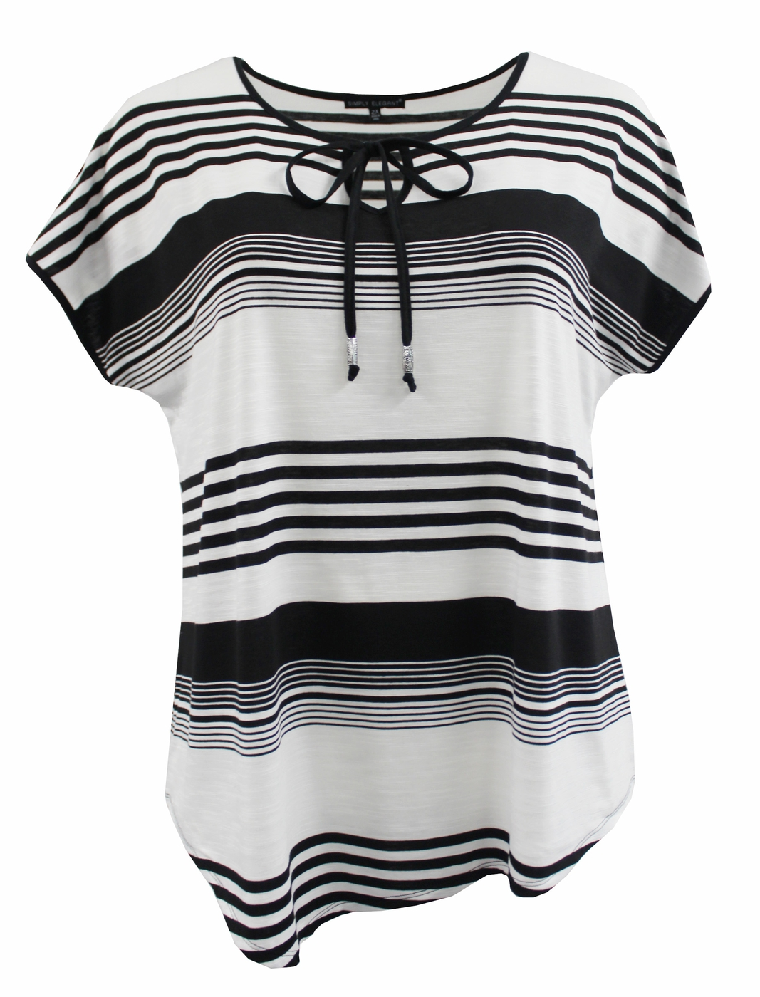 Striped Tee with Front Tie Opening - orangeshine.com