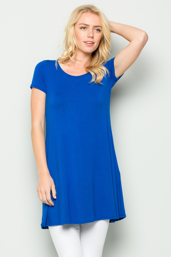Solid short sleeve dress - orangeshine.com