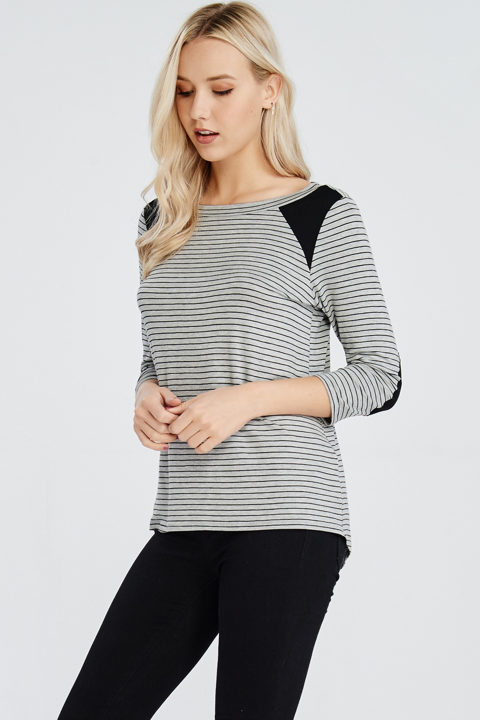Long Sleeve Elbow Patches Top - orangeshine.com