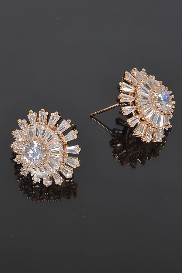 FLOWER RHINESTONE EARRINGS - orangeshine.com