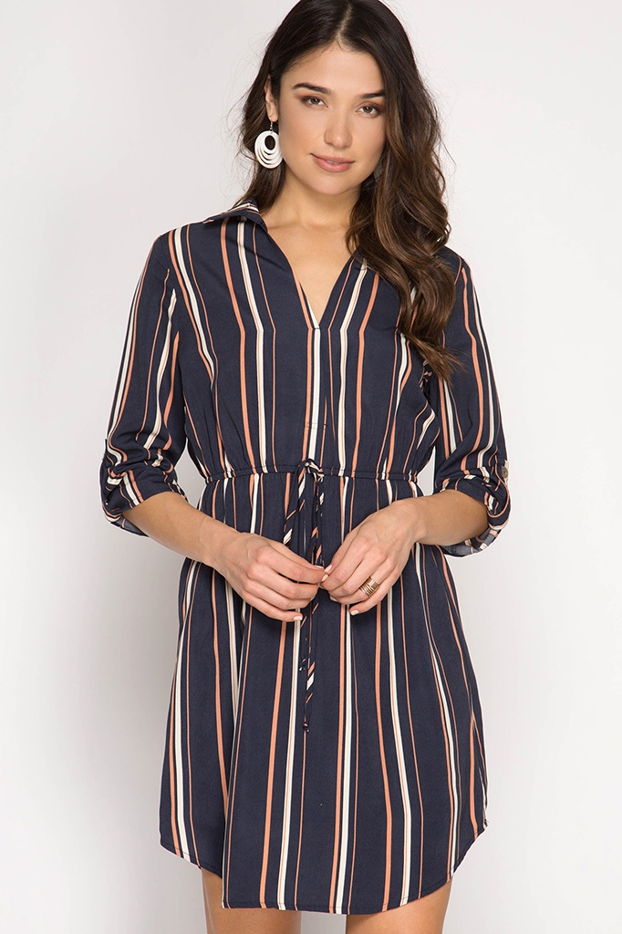 SL6852- ROLL-UP STRIPED SHIRT DRESS - orangeshine.com
