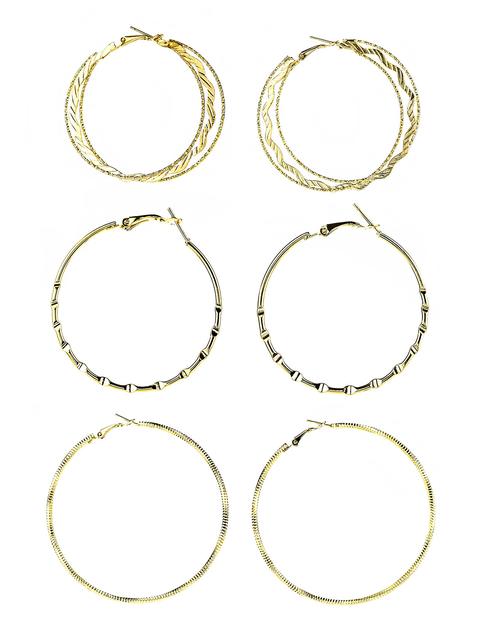 Hoop Earrings-Set of 3 - orangeshine.com