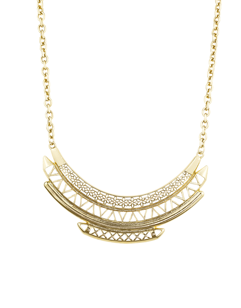 Etched Detail Statement Necklace - orangeshine.com